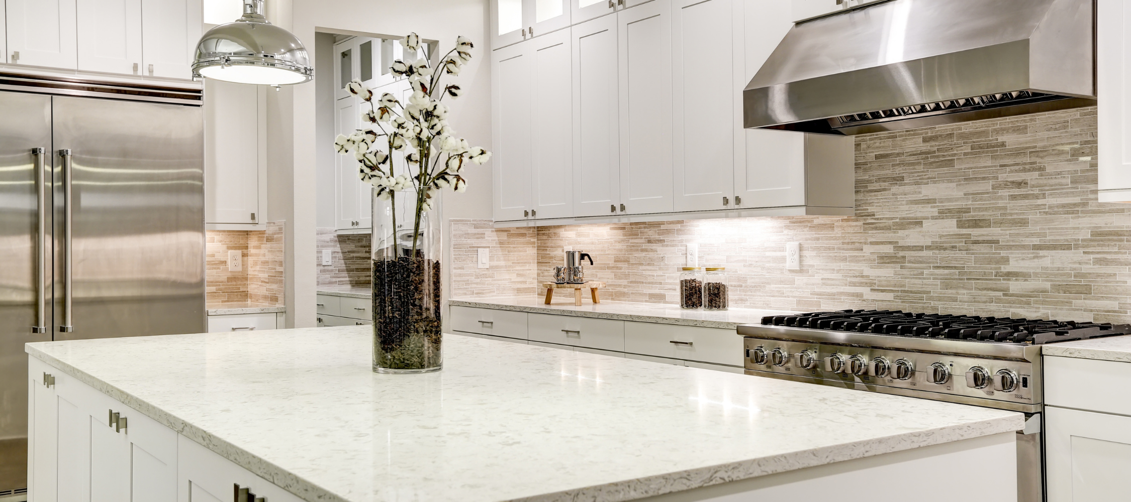 Kitchen counter, island, and stovetop